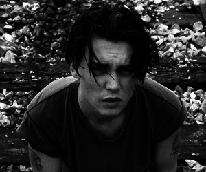 johnny depp, black and white, and Hot image