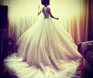 ball gown, bride, and neck image