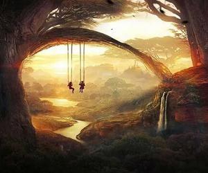 art, swing, and tree image