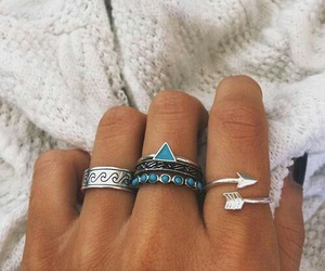 rings, accessories, and blue image