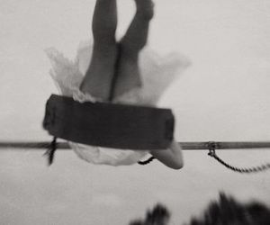 girl, swing, and black and white image