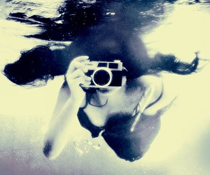 camera, girl, and underwater image