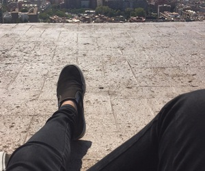 Barcelona, black jeans, and floor image