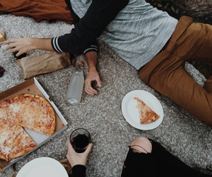 pizza, couple, and food image