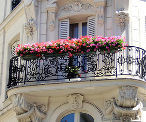 flowers, balcony, and house image