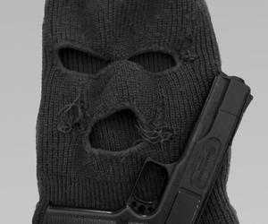 gun, black, and mask image