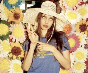 Angelina Jolie and flowers image