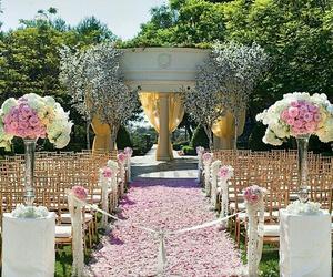 ceremony, wedding, and flowers image