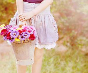 flowers, girl, and skirt image