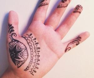 drawing, hand, and henna image