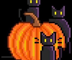 black cat, fall, and Halloween image
