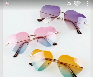 sunglasses, heart, and pink image