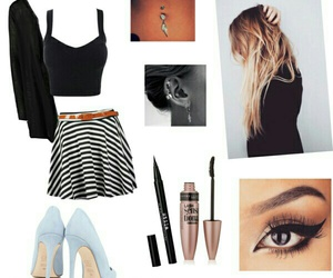 eye makeup, high heels, and long hair image