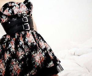 dress, flowers, and black image