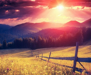sun, beautiful, and mountains image