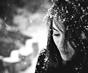 black and white, girl, and snow image