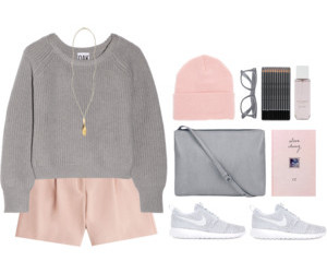 outfit, pink, and Polyvore image