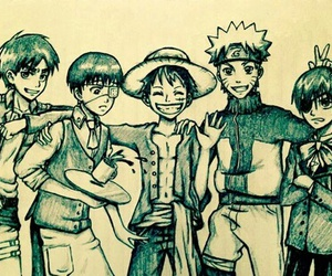 naruto, one piece, and kaneki image
