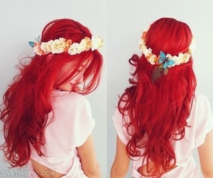 hair, red, and flowers image