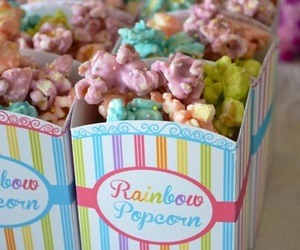 popcorn, food, and rainbow image