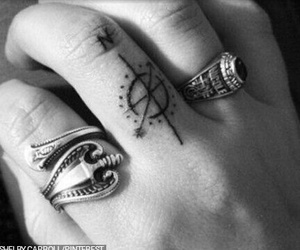 tattoo, fingers, and compass image
