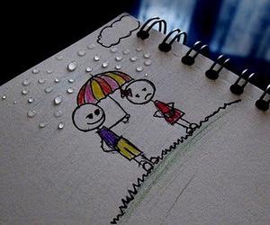 love, rain, and boy image