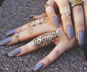 nails, rings, and gold image