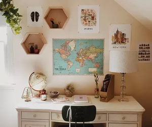 room, desk, and map image