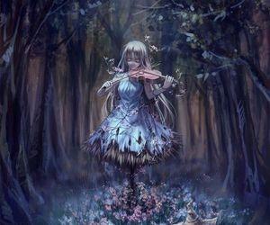 anime, anime girl, and violin image