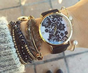 watch, bracelet, and black image