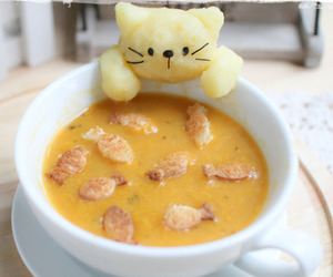 food, cat, and soup image