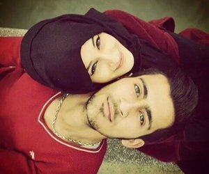 hijab, couple, and love image