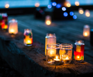 light, candles, and fall image