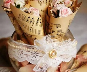 vintage, music, and flowers image