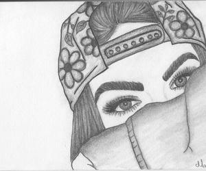 drawing, girl, and pencil drawing image