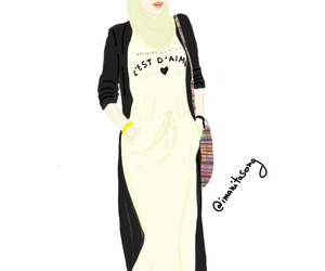 fashion, hijab, and illustration image