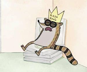 rigby, regular show, and pizza image