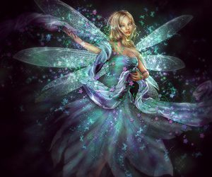 fairy, green, and purple image