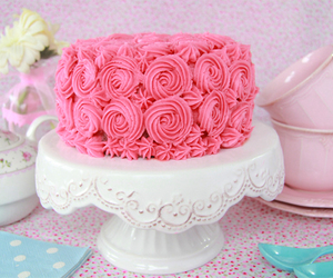 cake, pink, and woman image