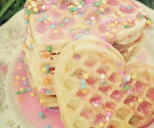 waffles, heart, and food image