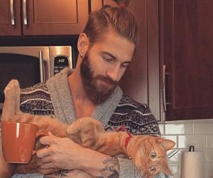 beard, man bun, and blonde image