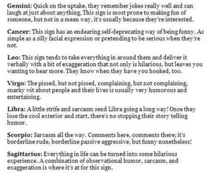 horoscope, humor, and signs image