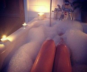bath, bath tub, and bubble image