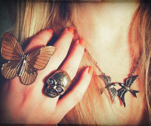 bird, blonde, and butterfly image