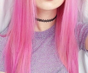pink, hair, and black image