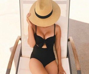bathing suit, bikini, and hat image