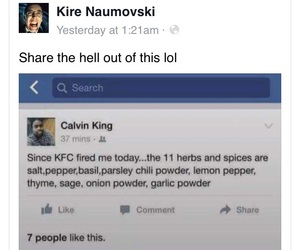 funny, facebook, and KFC image