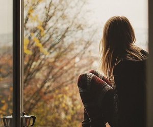 girl, autumn, and window image