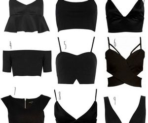 black, clothes, and crop top image