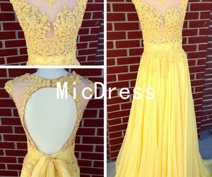 evening gown, prom dress, and yellow dress image